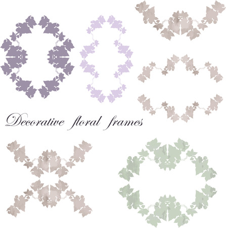 pastel color: Vector hand drawing blossom cherry silhouette or floral frame in vintage style - for scrapbooking, Save the date card, postcard, flyer or wedding invitation