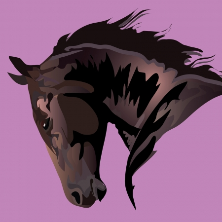 manner: horse head in a free manner