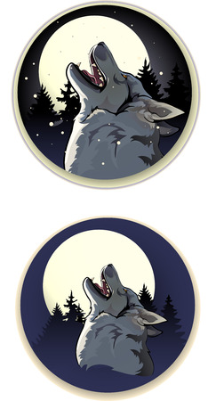 wolf howling on a moonlit night in the woods Vector