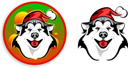 huskies: perros esquimales - Santa Claus Vectores