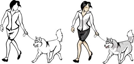huskies: mujer mostrando los perros en el show Vectores