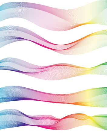 rainbow abstract: Collection of rainbow wave Abstract ribbon background Illustration