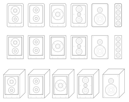 woofer: collection of audio speaker vector. surround system symbol. loudspeaker icons. outlines Woofer.
