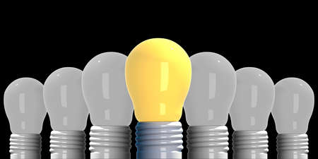 Idea concept , 3D rendering light bulbs that glowing among the others on black background.