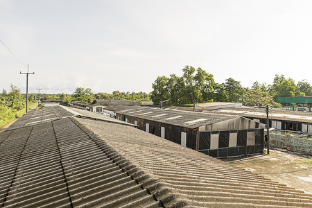 Aquatic farming concrete. Shrimp and fish hatchery business in Thailand.