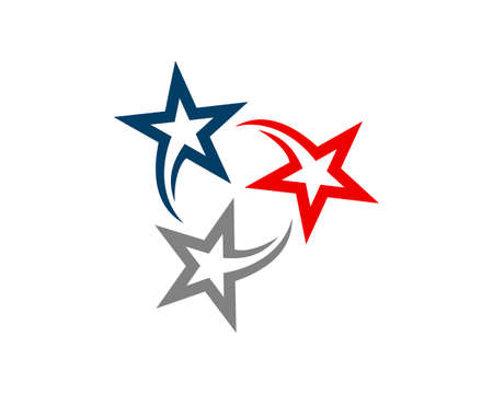 Triangle stars with line art logo
