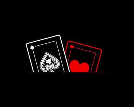 Poker card with line art in the black background Vektoros illusztráció