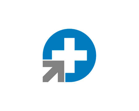 Circle shape with cross health and arrow