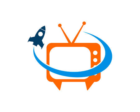 Simple television with swoosh and rocket