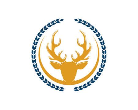 Circular wheat with deer head inside