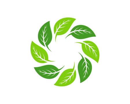 Circular green nature leaf