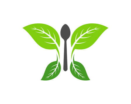 Nature leaf butterfly with food spoon
