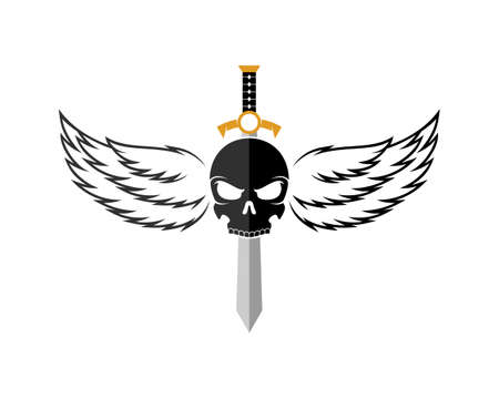 Skull with luxury wings and sword