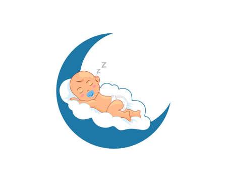 Elegance sleeping baby in the moon 向量圖像