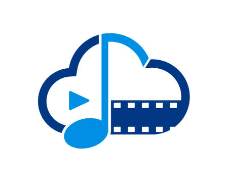 Cloud outline with music note and film reel and media play button