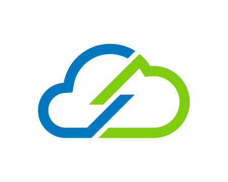 Abstract blue and green cloud connection Vector Illustration