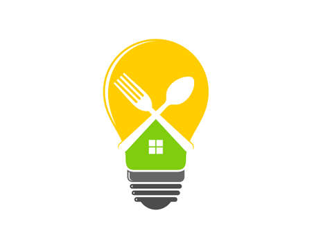 Food idea with fork and spoon in the light bulb