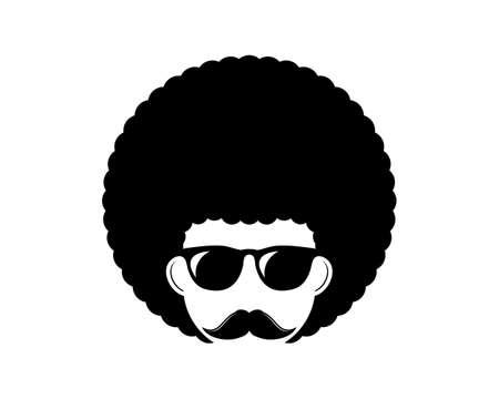 Afro hair boy with black eyeglasses