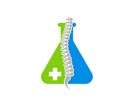 Healthy spine with laboratory test tube