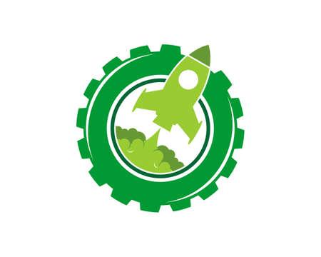 Green gear with rocket launch inside