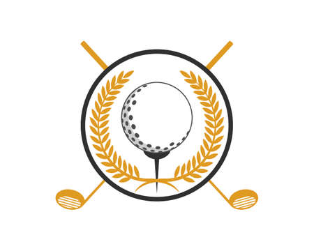 Gold circular wheat with ball and golf stick