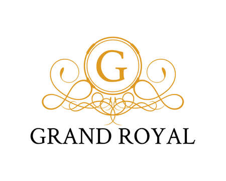 Luxury nature crest with G letter initial