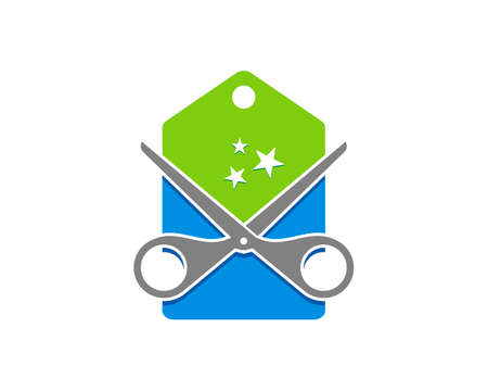 Blue and green price tag with scissor and star