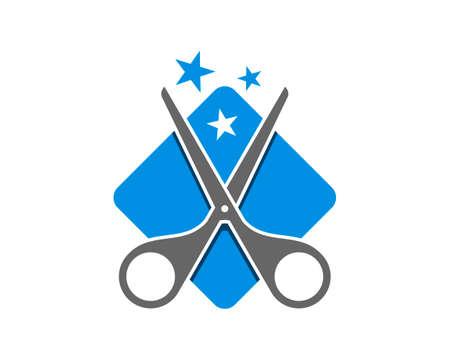 Blue square shape with scissor and star