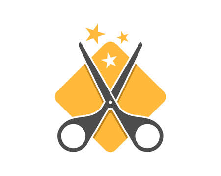 Yellow square shape with scissor and star
