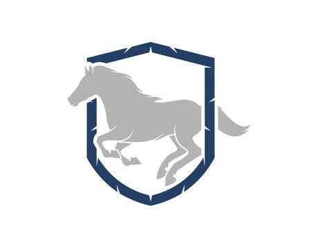 Running horse inside the shield