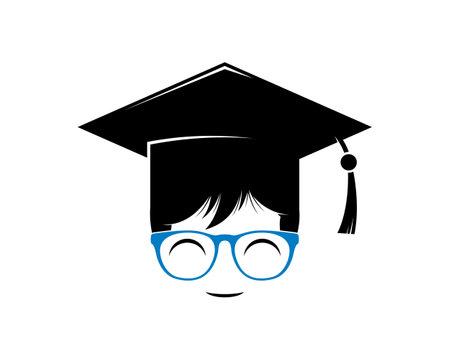 Geek boy with graduation hat and blue eyeglasses