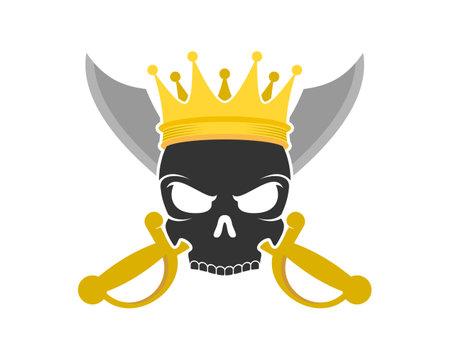 Pirate king skull logo Illustration