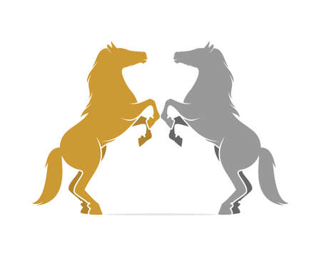 Two horse standing face to face logo