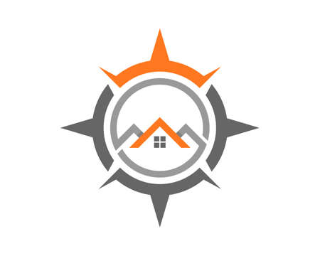 Compass with house real estate inside