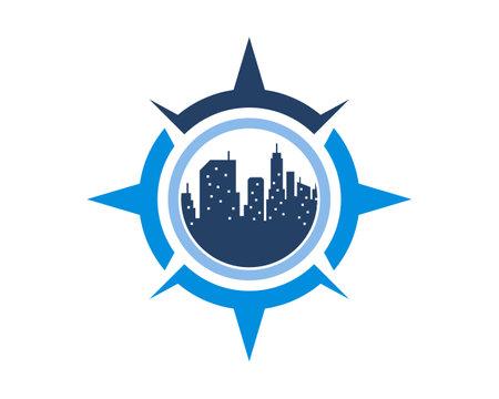 Compass navigation with city building inside Ilustración de vector