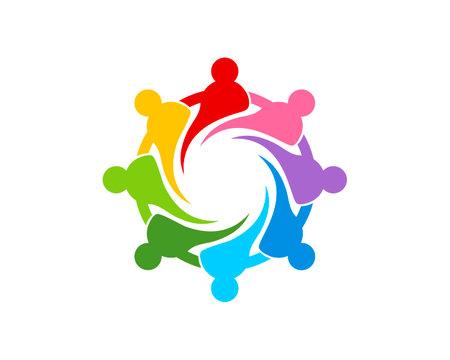 Circular rainbow people connection