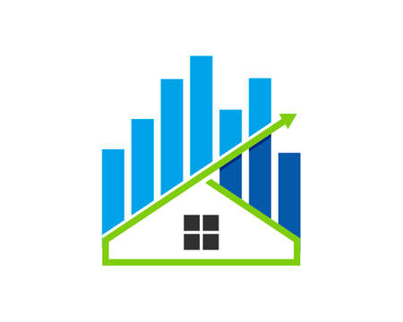 Simple house with financial chart and up arrow