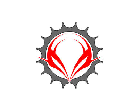 Grey bicycle gear with abstract tribal inside