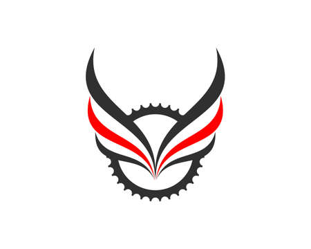 Grey and red bicycle gear and wings