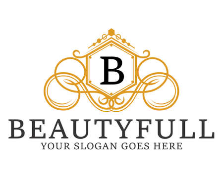 Luxury and elegance crest with B letter initial Ilustrace