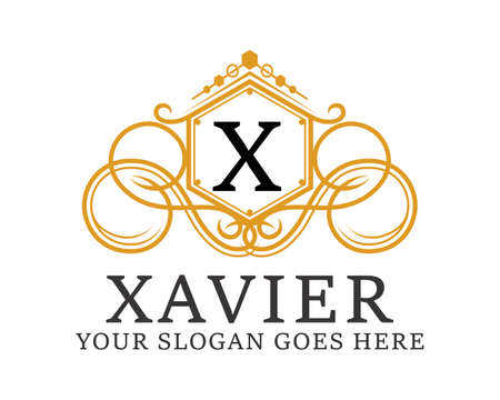 Luxury and elegance crest with X letter initial