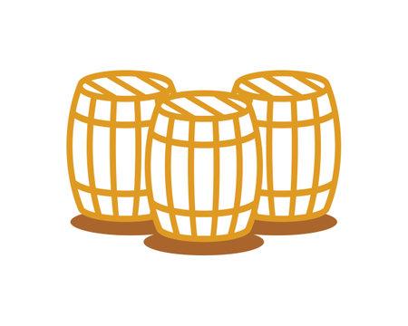 Three simple beer barrel Vetores