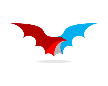 Red and blue dragon wings