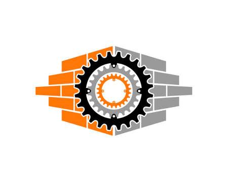 Gear bike with bricks behind Stock Illustratie