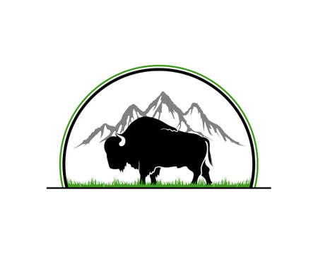 Bull silhouette with mountain scene the behind