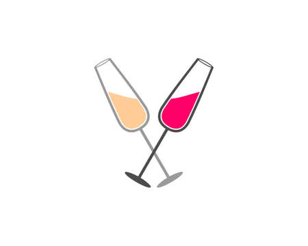 Crossed wine glasses Иллюстрация