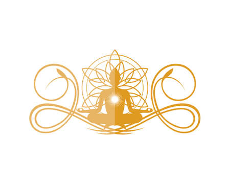 Luxury crest with yoga and abstract lotus flower