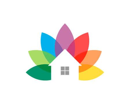 Rainbow leaf with simple house 矢量图像