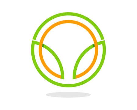 Abstract green and yellow circle shape
