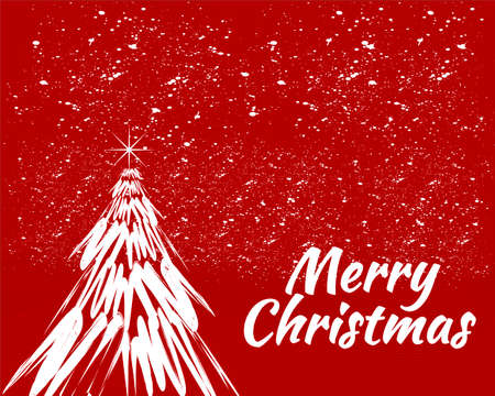 Merry christmas tree with red background